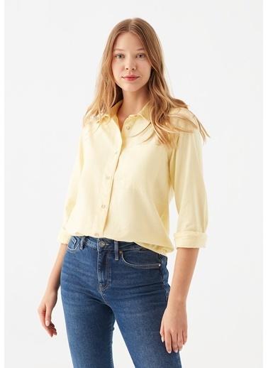 Mavi Tek Cepli  Gömlek Sarı